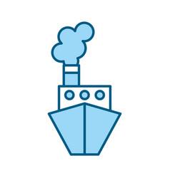 Blue ship cartoon vector