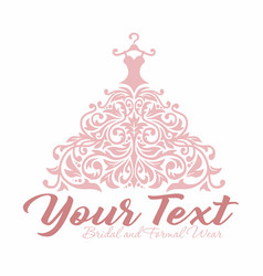 bridal wedding gown dress boutique logo vector image