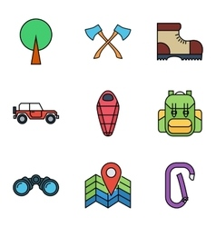 Camping flat icon set vector image