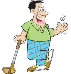 Cartoon man leaning on a golf club vector