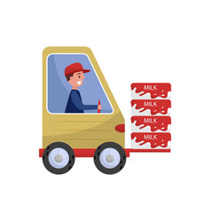 cheerful man driving loading machine with milk vector image