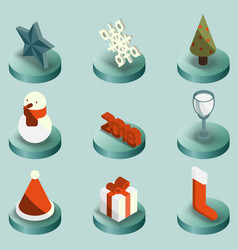 christmas color isometric icons vector image