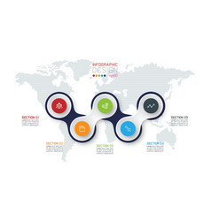 circle linked with business icon infographics on vector image