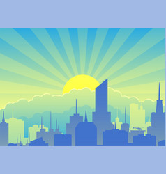 cityscape against backdrop sunrise vector image