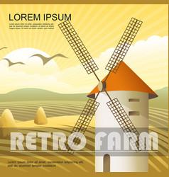 colorful retro farm bright template vector image