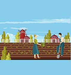 couple farmer people working in garden vector image