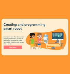 Creating and programming smart robot flat page vector