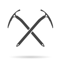 crossed ice axes for climbing and mountaineering vector image