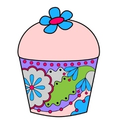 Cupcake colorful vector image