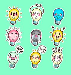 cute bulb sticker lamp emoticon vector image