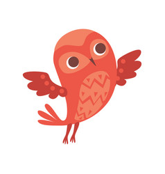 cute funny cartoon red owlet bird character vector image