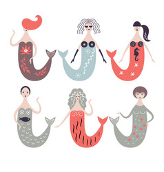 Cute mermaids vector