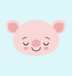 cute sleeping pink pig happy new year chinese vector image