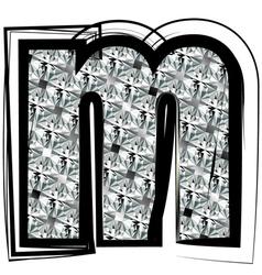 Diamond Font letter m vector