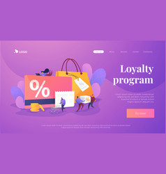 Discount and loyalty card landing page template vector