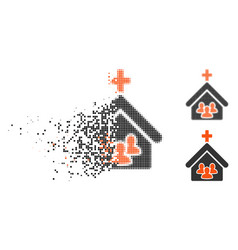 Dispersed pixel halftone church people icon vector