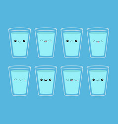 Drink water eight glass cup of water icon set vector