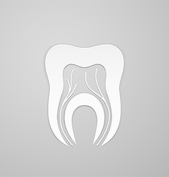 Emblem tooth with channel and vein vector image