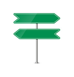 empty green direction sign - blank roadsign in vector image