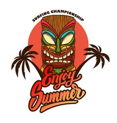 Enjoy summer emblem template with tiki idol vector