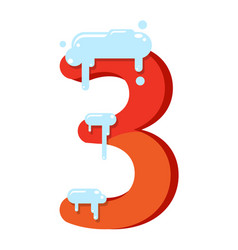 figure is 3 in the snow number three for the vector image