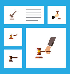 Flat icon lawyer set of hammer crime tribunal vector