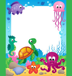frame with underwater animals 3 vector image