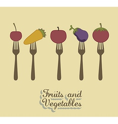 Fruits and vegetables vintage style vector