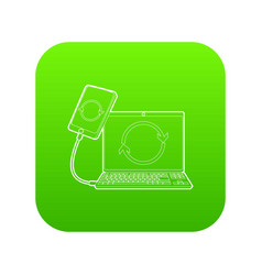Gadgets synchronized operation icon green vector