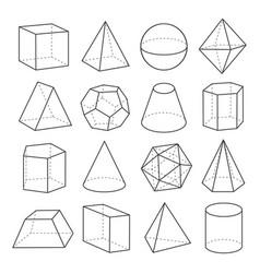 geometric shapes outline set vector image