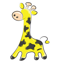 giraffe drawing on white background vector image