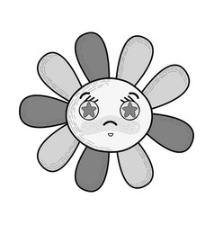Grayscale kawaii angry flower with stars inside vector