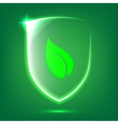 Green glass shield vector image