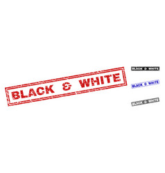 Grunge black white scratched rectangle stamps vector