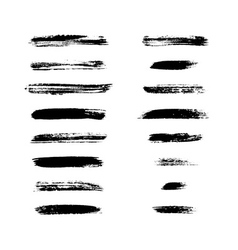 Grunge brushes stroke texture set vector