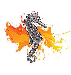 hand drawn seahorse vintage vector image