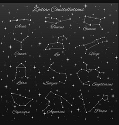 hand drawn zodiac constellations set of 12 signs vector image