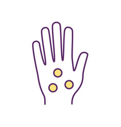 Hand pressure points rgb color icon vector