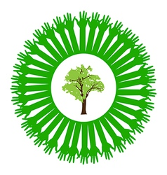 Hand style save the Earth tree idea vector