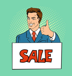 happy businessman man shows thumb up vector image
