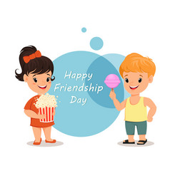 Happy friendship day smiling girl with popcorn vector
