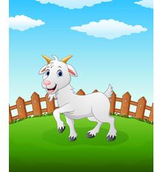 Happy lamb cartoon on the field vector