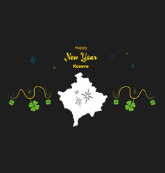 Happy new year theme with map of kosovo vector