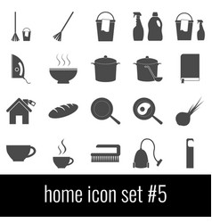 home icon set 5 gray icons on white background vector image