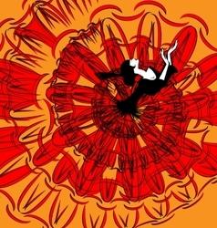 Image of dancer in black-red vector