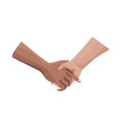 Interracial handshake human isolated icon vector