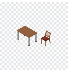 Isolated table isometric chair element can vector