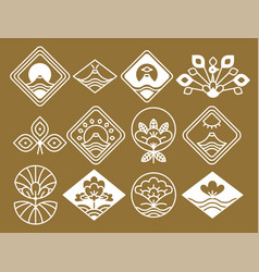 japanese icons with natural and floristic motifs vector image