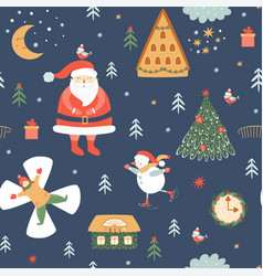 kids christmas pattern cute santa seamless vector image