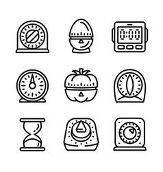 Kitchen timer icon set outline style vector